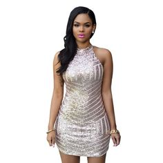 18def684172 New Arrivals 2018 Women s Summer Sleeveless Mini Dress Sexy Sparkling  Sequin Tank Dress With Zip