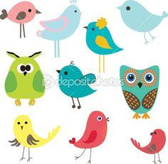 Set of different cute birds.