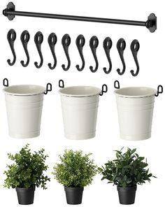 IKEA 22 Rail 10 Hooks 3 Cutlery Caddy Pot 3 Artificial Plants Herb Fintorp | eBay