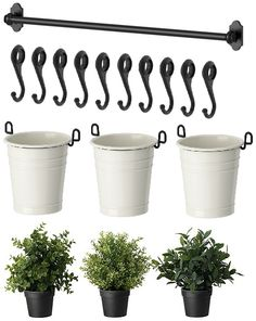 IKEA 22 Rail 10 Hooks 3 Cutlery Caddy Pot 3 Artificial Plants Herb Fintorp | eBay
