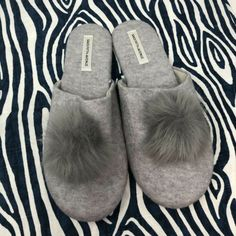 Fur Pom Pom, Fur Slides, Saks Fifth Avenue, 9 And 10, Faux Fur, Slippers, Slip On, Gray, Medium
