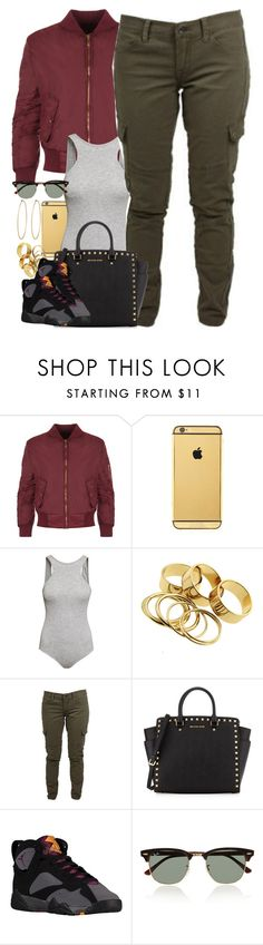 """Untitled #1445"" by power-beauty ❤ liked on Polyvore featuring WearAll, Goldgenie, H&M, Lucky Brand, MICHAEL Michael Kors, Ray-Ban and Social Anarchy"