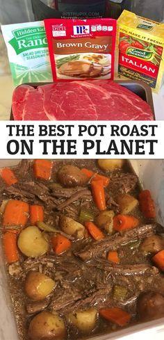 Pot Roast Recipes, Slow Cooker Recipes, Cooking Recipes, Dinner Recipes, Recipe For Chuck Roast, Vegetarian Recipes, Healthy Recipes, Crockpot Dishes, Crock Pot Cooking