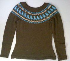 Fair Isle Bird Motif Yoke Sweater by plaidmommy on Etsy