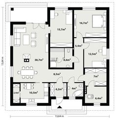 DOM.PL™ - Projekt domu TP Irysek CE - DOM TP1-07 - gotowy koszt budowy House Plan With Loft, My House Plans, House Floor Plans, New Room, Planer, Construction, Flooring, How To Plan, Modern