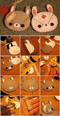 Step by step tutorial to make a felt brooch from a kawaii bear - Kawaii Crafts, Kawaii Diy, Cute Crafts, Felt Crafts, Diy And Crafts, Kawaii Felt, Plushie Patterns, Felt Patterns, Sewing Patterns