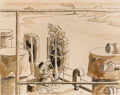 ART & ARTISTS: Thomas Hart Benton - part 4 WWII Submarine Museum, American Realism, Grant Wood, Social Realism, Printmaking, Wwii, Illustrators, Oil On Canvas, Modern Art