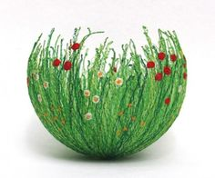Amazing work ofAnne Honeyman, an embroidery and textile artist who creates these amazing vessels by machine embroidering on soluble fabric and shaping them wet into bowls.