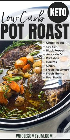 The BEST slow cooker pot roast! Includes how to choose the cut of meat for pot roast, prep tips, freezing pot roast, & an easy pot roast slow cooker recipe. #WholesomeYum