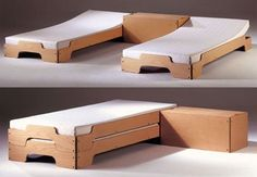 """Accommodating guests in a small apartment can be a tough situation for small space dwellers. There's always those inflatable beds, roll-out camping mats, converting couches and in our case, case study day beds. So we took a bit of interest when we saw this small space stackable bedding solution designed by Rolf Heide. The Stapelliege bed was specifically created with """"smaller apartments, single dwellings and guest rooms"""" in mind, and is available in beech, birch and ash finishes for around…"""
