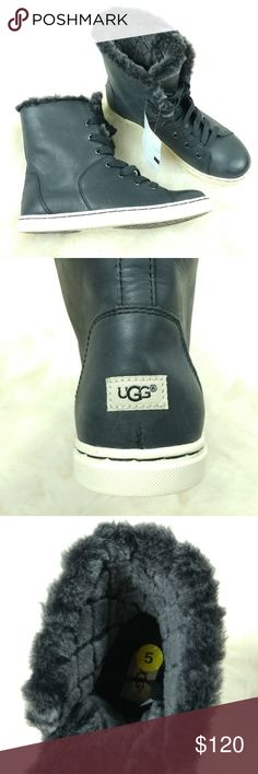NWT Women's Sz. 5 Black Leather Ugg Hightops bdc Beautiful size 5 black leather high top sneaker/boots. Lined with super warm sheepskin. New with tags. UGG Shoes Sneakers