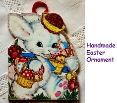 Easter Bunny with Red Hat~ Easter ORNAMENT~ Vintage Easter Card Image by ToysInTheCloset on Etsy
