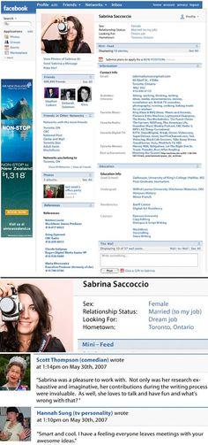Sabrina Saccocio is a TV, radio print and web producer who has put together this creative #facebook #resume.
