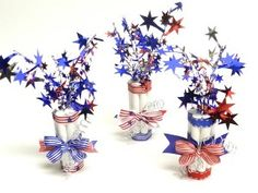 DIY Patriotic Firecracker Party Favors - great for the 4th of July festivities. You can make 10 for only $2.00!!!  Inexpensive table decorations.