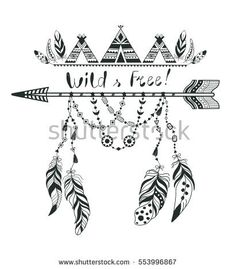 Boho Style for T-shirt and Decoration. Abstract Design with Bird Feather and Arrow . Ethnic Graphic with Slogan.