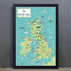 Illustrated Map of the British Isles  by BekCruddaceDesign on Etsy