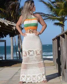 Excited to share this item from my shop: Crochet Beach Skirt, Boho Hippie Skirt, Wedding Bride Skirt, Festival Clothing . Crochet Halter Tops, Crochet Skirts, Crochet Crop Top, Crochet Clothes, Crochet Bikini, Skirt Pattern Free, Hippie Skirts, Crochet Fashion, Crochet Designs