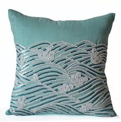 Amore Beaute Handcrafted Teal Silk Decorative Pillow Cover Ocean Waves Pillows Sequin Beaded Throw Pillow Cover Spring Summer Decor Housewarming Gifts Dorm Decor (24x24 inches)    Beach accent pillows are the way to bring the Sea to you.  You will apprecaite that beach accent pillows look amazing in the following home decor themes, lighthouse home decor, nautical home decor, beach home decor, maritime   home decor and coastal home decor.  While being cute you will appreciate the use of bold…