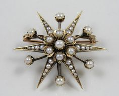 Antique Seed Pearl Starburst Brooch, Victorian Gold UVVZCR-N by MSJewelers on Etsy https://www.etsy.com/listing/156201582/antique-seed-pearl-starburst-brooch