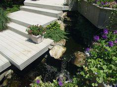 micro étang installé pour ceate mouvement et le son dans un ancien lit de plantation, les ponts, le jardinage, vie en plein air, terrasse, étangs caractéristiques de l'eau, les escaliers, Trex pont et les escaliers de plate-forme avec un Aquascape micro étang dans un ancien lit de plantation