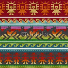 Vector: Traditional andean knitting patterns