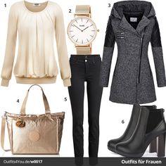 Schwarz-goldenes Outfit für stilvolle Damen. Goldene Bluse, Cluse Uhr und Kipling Shopper dazu schwarze Jeans, Stiefeletten und grauer Trenchcoat.