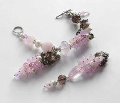 """Купить Кулон """"Сакура"""" с розовым кварцем и дымчатым топазом - бледно-розовый, кулон, кулон из камней"""