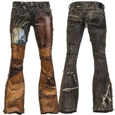 WSCP-249 Dyed Denim Pants - Brown Leather Studded Patchwork Side Laced MTO