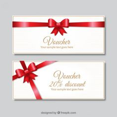 Realistic Gift Voucher With Red Decorative Bow Free Vector  Card