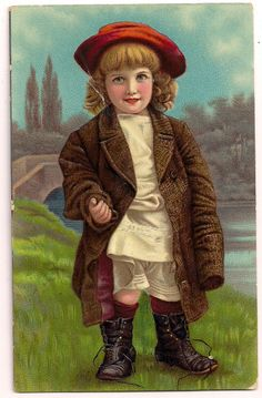 1908 Little girl in red hat playing dress up vintage postcard