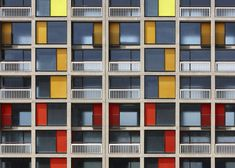 Colourful: Park Hill Phase 1 by Hawkins/Brown with Studio Egret West in Sheffield, which has been shortlisted for the 2013 Riba Stirling Prize for best new building Colour Architecture, Facade Architecture, Magazine Architecture, Installation Architecture, Sheffield Park, Sheffield England, Sheffield United, Council Estate, Brutalist Buildings