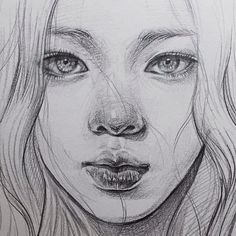 Realistic Drawings Image about girl in art by Anna on We Heart It - Portrait Sketches, Art Drawings Sketches, Realistic Drawings, Pencil Portrait, Cool Drawings, Arte Sketchbook, Face Sketch, Art Tutorials, Art Inspo