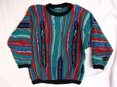 Coogi Men's Vintage Sweater M Medium Teal Red Black Crewneck Purple Cotton #Coogi #Crewneck