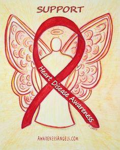 Heart Disease Awareness Red Ribbon Angel #HeartDisease #RedRibbon #Awareness #Angel