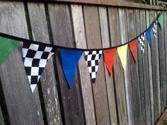 Bunting Flags Cars Theme Boys Birthday Decoration by BooBahBlue