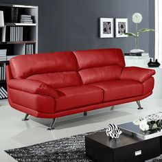 Regent 3 seater settee vibrant red leather sofa