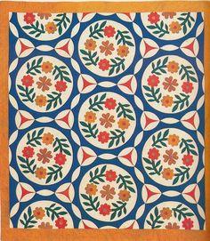 Rose Wreath, 1855. Made by Frances Ann Cross Story. Gates Co, North Carolina.