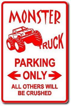 Monster truck parking only metal sign … monster truck bedroom, monster truck kids, monster Monster Truck Bedroom, Monster Truck Kids, Monster Truck Birthday, Monster Jam, Rat Rods, Aston Martin, Truck Room, Michael S, Parking Signs