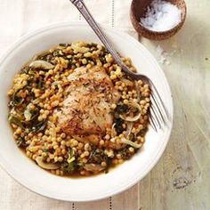 Boneless Chicken Thigh Recipes | EatingWell - use freekeh instead if couscous