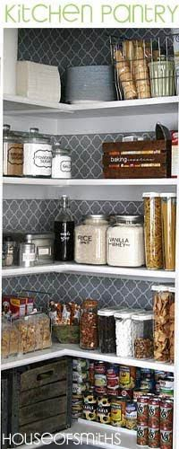 Pantry organization! love the containers w/ vinyl labeling