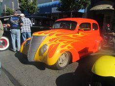 Flaming orange car.