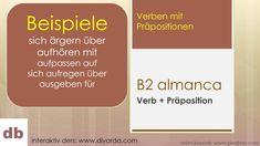 B2 almanca, Verb + Präposition, örnekler