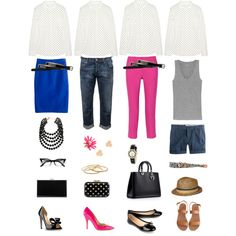"""White, Royal Blue, Jeans, Pink, Black Outfit """"One Key Wardrobe Piece Styled Four Ways #3"""" by ashleygailey on Polyvore"""