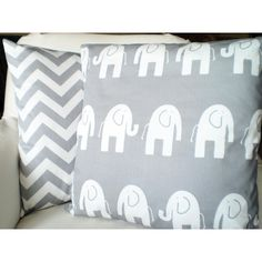 Gray Elephant Chevron Pillow Covers Nursery Pillows Childrens Cushions... ($34) ❤ liked on Polyvore featuring home, children's room, children's decor, decorative pillows, home & living, home décor and silver