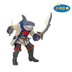 Papo Shark Mutant Pirate Figure by Papo. $9.31. 3.35 in L x 4.13 in W x 3.94 in H. The figures of the Papo Pirate Collection will stand up to the most treacherous of sea travel and treasure battles, sending children's imaginations down the plank into a creative and legendary pirate world!