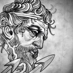 Pin by tony nucklez on greek god tattoo ideas греческая татуировка, эскиз т Gott Tattoos, Tattoos 3d, Kunst Tattoos, Body Art Tattoos, Sleeve Tattoos, Zeus Tattoo, Poseidon Tattoo, Poseidon Drawing, Tattoo Sketches
