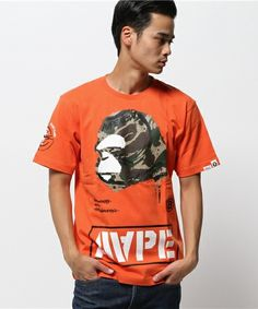 AAPE(エーエイプ)のAAPE PRT TE (Tシャツ/カットソー)|オレンジ