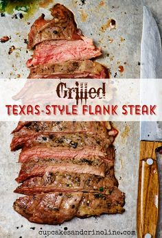 Treat family, friends, and yourself to a delicious Grilled Texas-Style Flank Steak. This recipe is easy to make and can be prepared in advance. It yields a tasty steak that will leave everyone asking for more! Flank Steak Recipes, Grilled Steak Recipes, Grilled Meat, Grilling Recipes, Meat Recipes, Dinner Recipes, Cooking Recipes, Grilling Ideas, Water Recipes