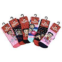 Femme 6 ou 12 paires Betty Boop authentiques motifs couleurs assorties chaussettes, 37-42 Eur