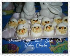 How to make easy and fun deviled eggs to look like baby chicks.  A delightful addition for any dinner table, especially  for Easter Dinner.  I serve these at all our family dinners.